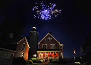 Fireworks on the July 4th at the Braddock Point Lighthouse