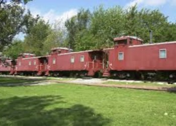 Cabooses in Wildlife Prairie State Park in Hanna City, Illinois