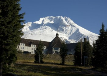 Timberline Lodge   in the Summer with Mount Hood