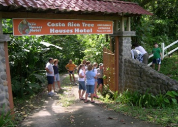 Entrance of the Tree Houses Hotel  in Costa Rica