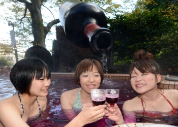 Drinking Wine at  at the Yunessune Spa Resort in Japan