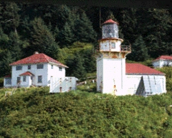 Cape St. Elias Lighthouse and Keeper House from Shore