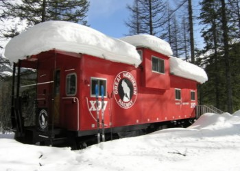 Izaak Walton Inn Caboose in the Winter